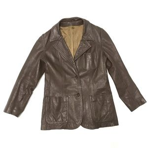 Vintage rocker brown leather distressed blazer-S/M